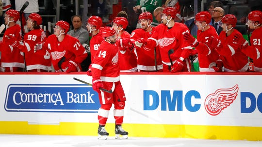 Detroit Red Wings center Robby Fabbri celebrates his goal against the Ottawa Senators during the first period Tuesday, Nov. 19, 2019, in Detroit.