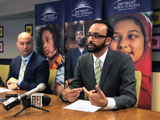 DPSCD Superintendent Nikolai Vitti, left, and Rishi Moudgil, executive director of the GreenLight Fund, discuss a new mentor program for Detroit teachers.