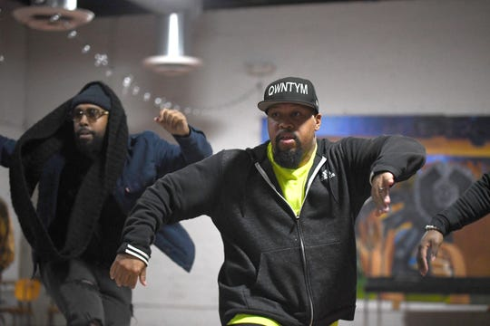 Ron Ford Jr. (right) rehearses with Michael Manson in the Funkateer style dance at the Cass Corridor Neighborhood Development building. Ford Jr., a Kresge Artist Fellows, is a grant recipient in choreography, rehearsing for a mini-concert to be held November 23rd at the International Institute in Detroit.  He is an expert in the Funkateer style of Detroit dance from the 1970s, or as he calls it, just the Funk.
