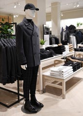 Pea coats are among the selection in the men's department at the H&M store on Woodward Avenue in Detroit.