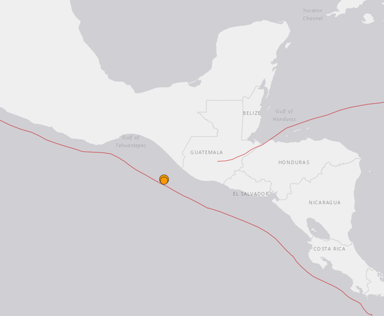 The two quakes occurred at almost the same spot, just offshore from the Mexico-Guatemala border.