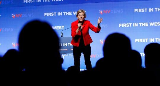 Democratic presidential candidate Sen. Elizabeth Warren, D-Mass., speaks during a fundraiser for the Nevada Democratic Party, Sunday, Nov. 17, 2019, in Las Vegas.