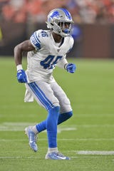 Lions rookie cornerback Amani Oruwariye, shown here during the preseason, didn't see a heavy workload in his defensive debut, logging nine snaps against the  Cowboys.
