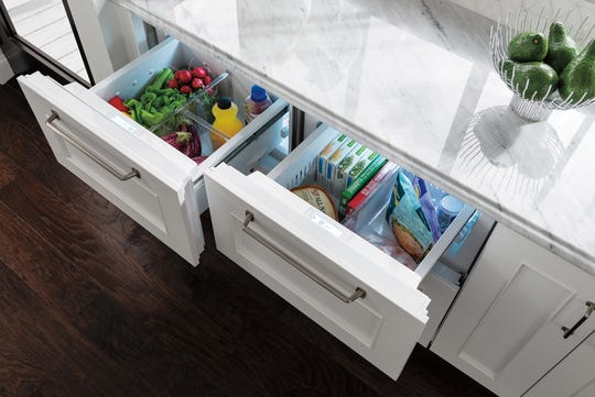 While homeowners may be opting for the largest full-size refrigerator the kitchen space allows, supplemental refrigeration can be tucked under the counter with refrigerator and freezer drawers. These Sub-Zero refrigeration and freezer drawers range in size from 24 to 36 inches wide.
