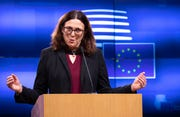 European Commissioner for Trade Cecilia Malmstrom speaks at the Europa building in Brussels in this Oct. 1, 2019, file photo. On Wednesday Malmstrom said that because a U.S. deadline for car import tariffs came and went last week without any action, Trump would abide by an agreement reached with European Commission President Jean-Claude Juncker last year that would forestall the levies.