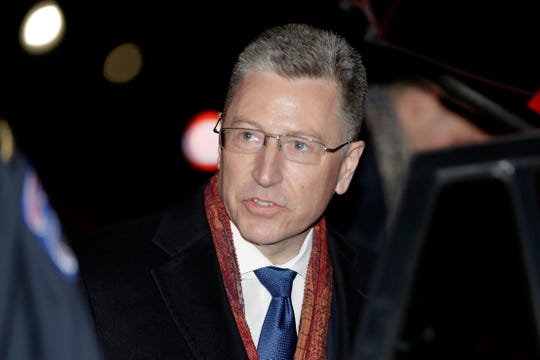 Ambassador Kurt Volker, former special envoy to Ukraine, leaves after testifying before the House Intelligence Committee on Capitol Hill in Washington, Tuesday, Nov. 19, 2019, during a public impeachment hearing of President Donald Trump's efforts to tie U.S. aid for Ukraine to investigations of his political opponents.