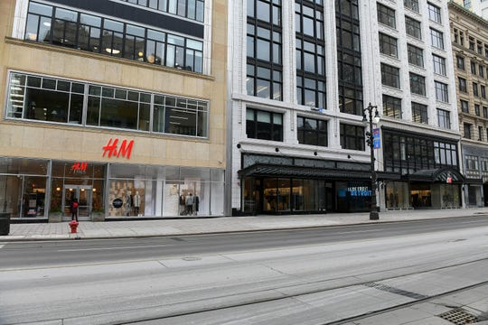 The new H&M store on Woodward Avenue in Detroit takes up three storefronts.