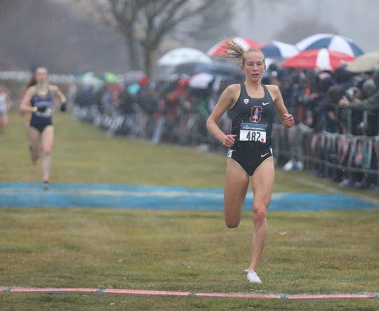 Former Corning Hawks standout Jessica Lawson runs to second place for Stanford at the NCAA West Regional on Nov. 15 at Colfax Golf Club in Colfax, Washinton.