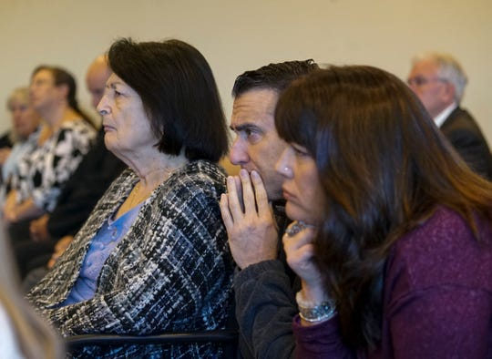 Teresa Sievers' sister, Ann Lisa, right,  and her mom Mary Ann Groves, left, listen to the opening statements in Mark Sievers' trial on Wednesday morning, Nov. 20, 2019, at the Lee County Justice Center in Fort Myers.