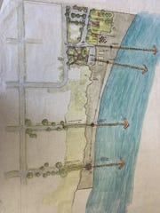 The design charrette for Kewaunee's proposed Beach Park shows walkways for better access to the beach.