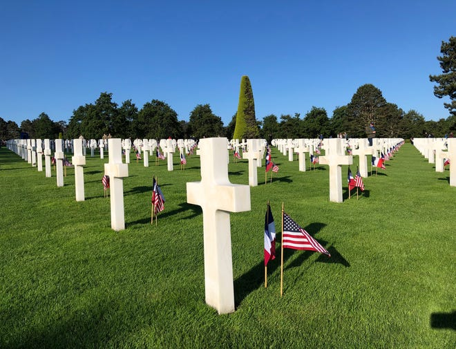 The Normandy American Cemetery and Memorial at Omaha Beach.