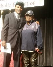 Jamir Jones with his grandmother Amanda Darden on National Signing Day in 2016