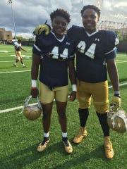 Jamir Jones (left) and Jarron Jones as Notre Dame teammates in 2016