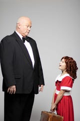 "Promotional photos for Courtesy of City Circle Acting Company's 2019 production of ""Annie."" Pictured are Larry Newman as Oliver Warbucks and Camila Koch as Annie."