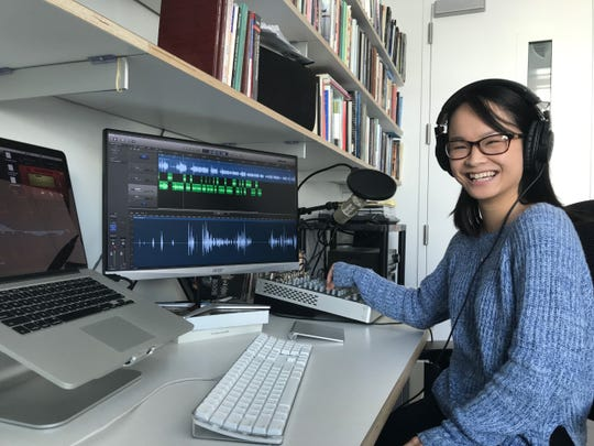 "UI senior saxophone performance major Miranda Henry working on editing ""Ethnomusicology Today,"" a podcast recorded and edited by UI staff and students."