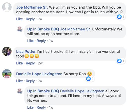 Up In Smoke BBQ Facebook comments.
