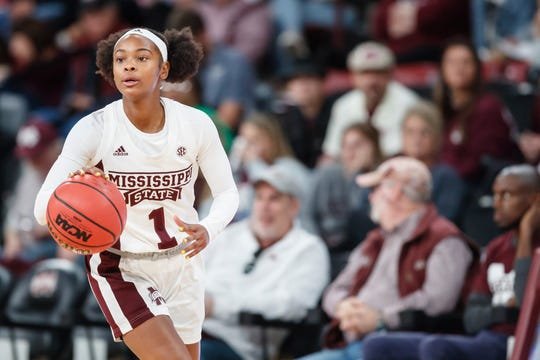 Mississippi State's Myah Taylor dribbles against the Southern Miss Golden Eagles during the first game of the 2019-20 season at Humphrey Coliseum in Starkville, Mississippi.