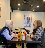 Debbie Campbell of Madison, left, and Ann Bartling of Ridgeland take time to visit after eating lunch at E.A.T.S. Diner in Ridgeland.