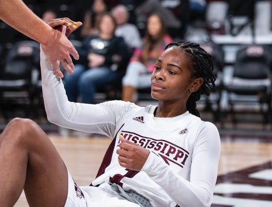 Mississippi State point guard Myah Taylor reacts to taking her fifth charge of the game in the Bulldogs' 122-82 victory over Troy on Monday Nov. 18, 2019.