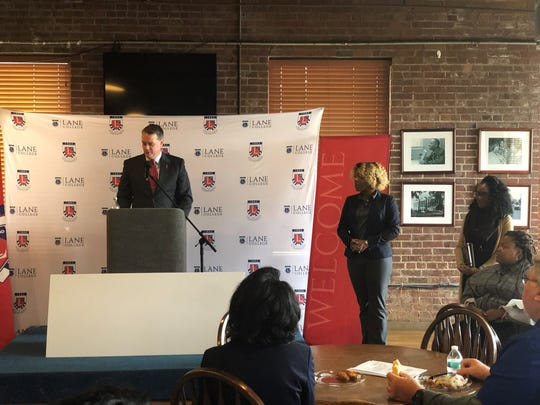 Martin Williams, the chief financial officer and vice president of Corinth Coca-Cola – Jackson's local distributor, presented a $100,000 scholarship for first-generation students at Lane College.