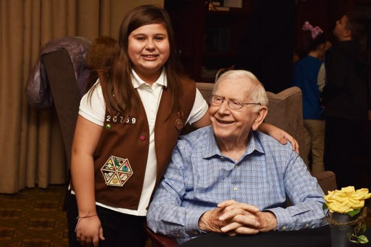 """Rose Loveday and Dan Kelly became friends at an event earlier this year at Morning Pointe Assisted Living. Rose considers Kelly her favorite grandpa and helped him celebrate his 92nd birthday at the """"grandparent adoption"""" ceremony on Tuesday, Nov. 19. 2019."""