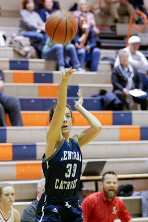 Central Catholic's Caitlin Dineen (33) goes up for three during the first quarter of game four in the 2019 Girls Hoops Classic, Tuesday, Nov. 19, 2019 in West Lafayette.