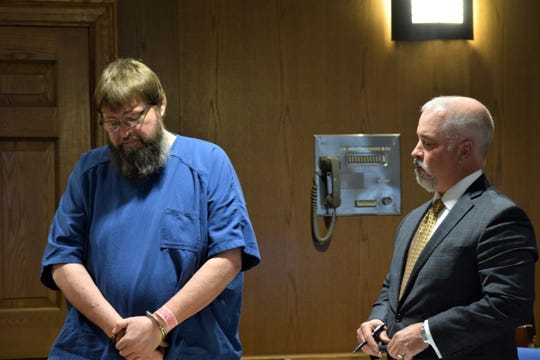 Frederick Bellomy, left, stands with his attorney William Settina during Bellomy's sentencing hearing Wednesday, Nov. 20. He was sentenced to 14 years in prison after he pleaded guilty to one count each of rape and importuning.