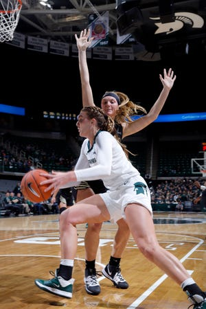 Michigan State's Kayla Belles maneuvers against Oakland's Kayla Luchenbach, rear, Tuesday, Nov. 19, 2019, in East Lansing, Mich. Michigan State won 76-56.
