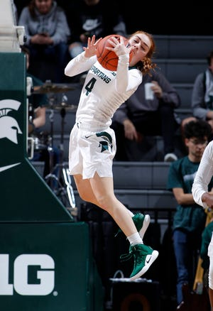 Michigan State's Taryn McCutcheon pulls down a rebound against Oakland, Tuesday, Nov. 19, 2019, in East Lansing, Mich. Michigan State won 76-56.