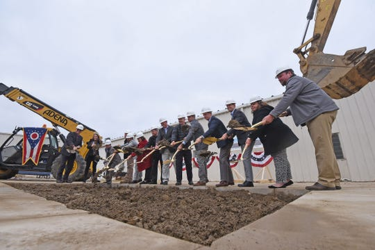 Local dignitaries and employees at Emerson Actuation Technologies broke ground on the new Ontario facility.