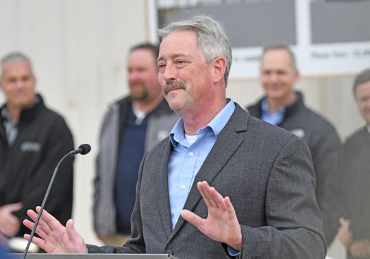 Scott Lewis, Operations Manager at Emerson Actuation Technologies, speaks before the ground breaking of the company's 2020 expansion project in Ontario.