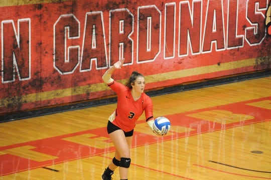 Pleasant grad Carlie Craycraft (3) serves the volleyball during Otterbein's home match with Kenyon earlier this season. Only a freshman, Craycraft earned all-league honors for Otterbein.