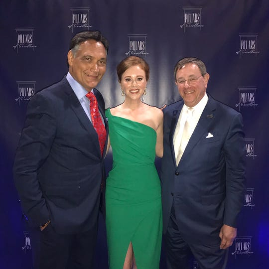 "Jimmy Smits, Lauran Stimac and Richard Glassman at the ""Pillars of Excellence"" banquet."
