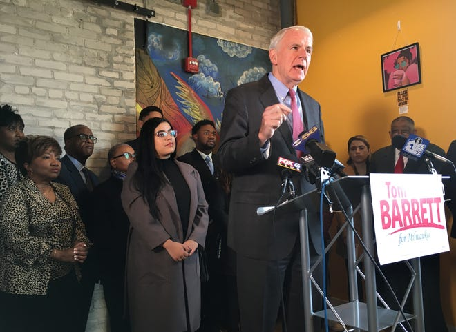 Milwaukee Mayor Tom Barrett announces he's seeking re-election to a fifth term in office at a Wednesday event at the Sherman Phoenix development in the Sherman Park neighborhood.