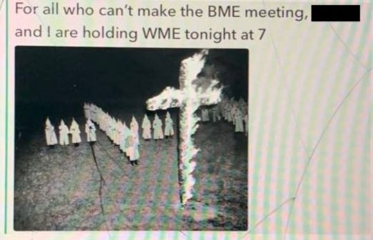 A message sent between football players includes an image of a KKK cross burning.