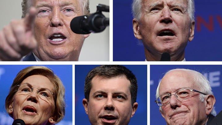 (Clockwise from upper left) President Donald Trump, former Vice President Joe Biden, Sen. Bernie Sanders, South Bend, Indiana, Mayor Pete Buttigieg and Sen. Elizabeth Warren.