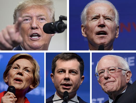 (Clockwise from upper left) President Donald Trump, former Vice President Joe Biden, Sen. Bernie Sanders, South Bend, Indiana, Mayor Pete Buttigieg and Sen. Elizabeth Warren.