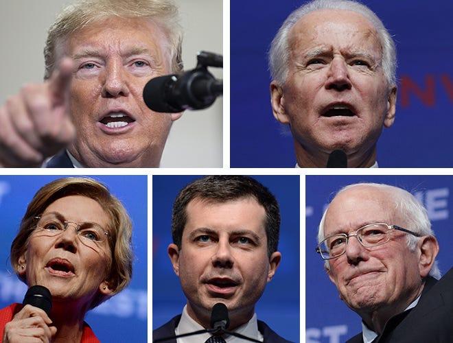 (Clockwise from upper left) President Donald Trump, former Vice President Joe Biden, Sen. Bernie Sanders, former South Bend, Indiana, Mayor Pete Buttigieg and Sen. Elizabeth Warren.