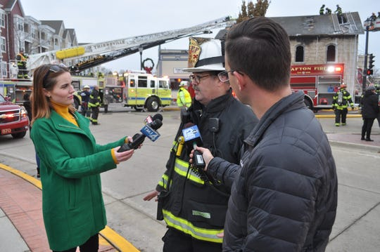 Grafton Fire Chief Bill Rice briefs the media after a fire at Heinz & Sons 57 Auto Body in downtown Grafton on Wednesday, Nov. 20.