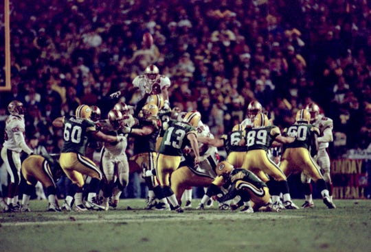 Monday07p Monday07p - Chris Jacke sets an NFL-record with a 53-yard field goal in overtime to beat the San Francisco 49ers in 1996.