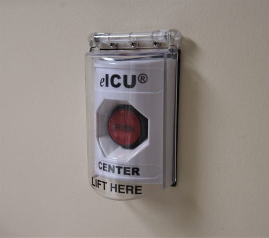 Red buttons like this are found in Baxter Regional Medical Center's ICU rooms and activates the hospital's Virtual ICU program. The system is used to connect BRMC staff with physicians at Mercy Hospital in St. Louis.