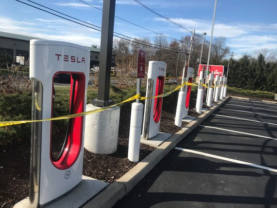 Tesla electric-vehicle power stations at the Parsippany Wawa store on New Road were closed after a fire broke out in the system's equipment box the day before. Nov. 19, 2019.