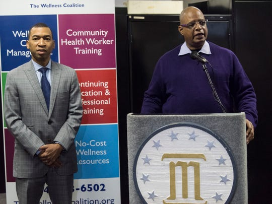Dr. Willie Welch, pastor of First Baptist Church, speaks during the Mayor's media briefing at the Montgomery Wellness Coalition in Montgomery, Ala., on Wednesday, Nov. 20, 2019.