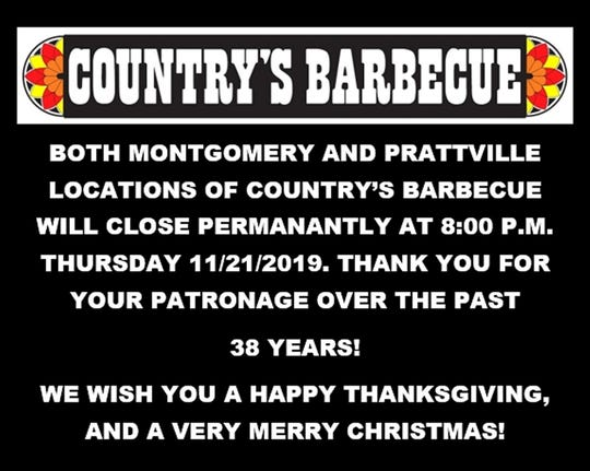 Country's Barbecue announced plans to close in an image posted Wednesday to social media.