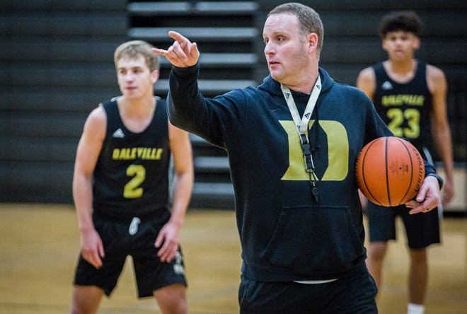 Daleville head coach Tyler Stotler is pictured during a 2019 practice in this file photo. After four years leading the program, Stotler announced that he would be stepping away as the Broncos' head coach on March 10, 2021.