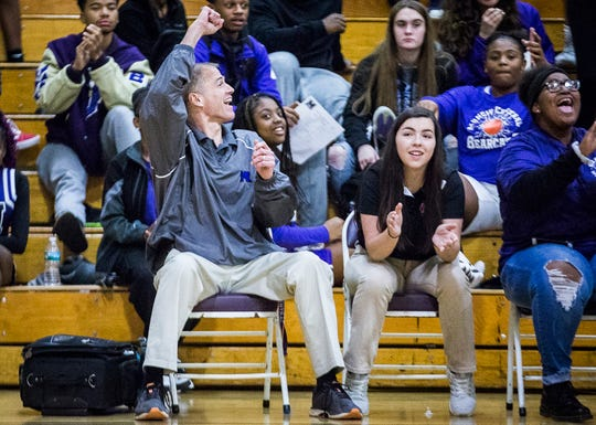Central athletic trainer Kevin Beach works the Central versus Alexandria basketball game Tuesday, Nov. 19, 2019.