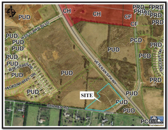 This map shows where a planned Tennessee Orthopaedic Alliance (TOA) medical office may open on Veterans Parkway near Interstate 840 in Murfreesboro.