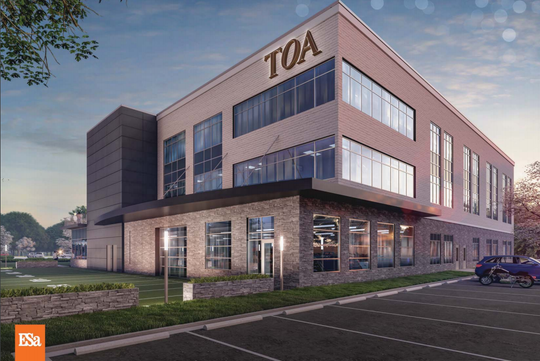 This rendering shows a planned Tennessee Orthopaedic Alliance (TOA) medical office on Veterans Parkway near Interstate 840 in Murfreesboro.