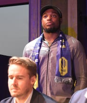 Titans running back Derrick Henry announced a Nashville SC draft pick during the MLS Expansion Draft party Tuesday at Ole Red.