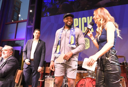 Titans running back Derrick Henry announced a Nashville Soccer Club draft pick during a MLS expansion draft at Ole Red on Broadway in  Nashville on Tuesday, Nov.19, 2019.